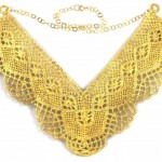 """Tullulah"" Gold Bobbin Lace Necklace"